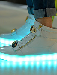 cheap -LED Light Up Shoes, Women's Shoes Flat Heel Fashion Boots / Comfort / Round Toe Fashion Sneakers Athletic / Dress / Casual Black / White