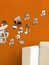 cheap -New Musical Notes Modern Removable Art Mirror Wall Sticker Home Bath Decal Decor