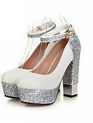cheap -Women's Shoes Leatherette Spring Comfort Heels Chunky Heel / Platform Pointed Toe Sparkling Glitter White / Black / Wedding