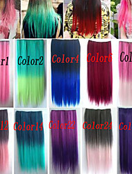 cheap -Popular Mixed Color Straight Hair Piece High Temperature Fiber Synthetic Hair Extention