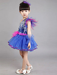 Jazz Outfits Children's Performance Sequined Sequins 2 Pieces Sleeveless Dress Headpieces