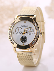 cheap -Women/Men White Case Steel Gold Band Watch Jewelry for Wedding Party