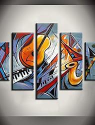 Pintados à mão Abstrato / Paisagem / Fantasia / Paisagens AbstratasModerno 5 Painéis Tela Pintura a Óleo For Decoração para casa