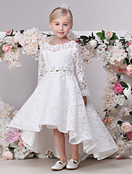 A-Line Asymmetrical Flower Girl Dress - Lace Long Sleeves Jewel Neck with Lace