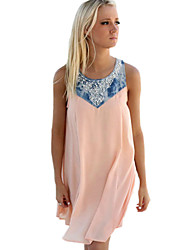 Women's Boho Sexy/Street chic Patchwork A Line/Loose Hot Drilling Sleeveless Dress,Round Neck Above Knee Polyester