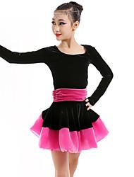 baratos -Dança Latina Vestidos Crianças Espetáculo Veludo Pregueado Vestido