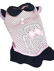 Chien Robe Vêtements pour Chien Mode A pois Nœud papillon Noir Rose Costume Pour les animaux domestiques