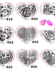 billige -9 pcs Nail Stamping Tool Stempling plade Skabelon Moderigtigt Design Negle kunst Manicure Pedicure Stilfuld / Mode / Stempling Plate