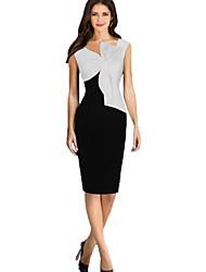 Women's Sexy Color Block Bodycon Dress , V Neck Knee-length Cotton / Polyester