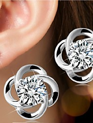 Women's Stud Earrings Birthstones Simple Style Bridal Costume Jewelry Silver Sterling Silver Flower Jewelry For Wedding Party Daily