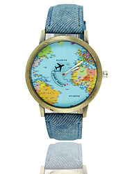 cheap -Men's Wrist watch Quartz Hot Sale Leather Band World Map Black White Blue Red Brown Green Pink Yellow