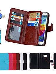 Magnetic 2 in 1 Wallet Leather With Card Slot Case for Galaxy S7/S6 Edge Plus/S6 Edge/S5/S4+Stylus Anti-dust Plug