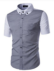 Hombre Casual Diario Tallas Grandes Verano Camisa,Escote Chino Bloques Manga Corta Algodón