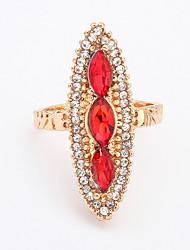 Women's European Style Fashion Shiny Rhinestone Droplets Rhombic Ring