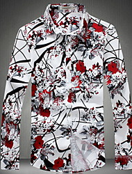 cheap -Men's Casual Plus Size Cotton Slim Shirt - Flower / Floral, Print Classic Collar