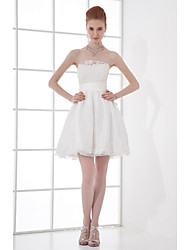 cheap -A-Line Strapless Short / Mini Taffeta Bridesmaid Dress with Beading Bow(s) Lace by LAN TING BRIDE®
