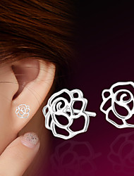 cheap -2016 Korean Unisex 925 Silver Sterling Silver Jewelry Earrings Hollow Rose Flower Stud Earrings 1Pair