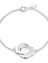 cheap -Fashion Sweet Women's Handcruffs Silver Plated Brass Chain & Link Bracelets(Silver)(1Pc) Christmas Gifts