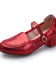 Недорогие -Для женщин Современный Кожа Кроссовки С раздельной подошвой Для открытой площадки С пряжкой На низком каблуке Черный Красный Серебро