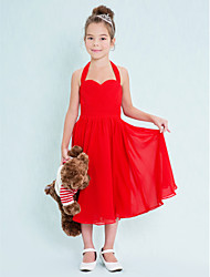 A-Line Halter Tea Length Chiffon Junior Bridesmaid Dress with Criss Cross Ruching by LAN TING BRIDE®