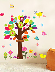 Small Colorful Tree Vinyl Wall Stickers Decals Girl Children Plants Flower Wallpaper Mural Baby Kids Room Nursery Decor