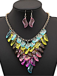 cheap -MPL Colorful gem Multi Chain Necklace Set