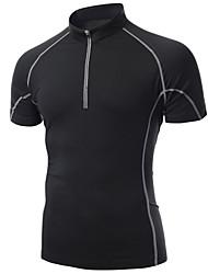 Maglia da ciclismo Per uomo Manica corta Bicicletta T-shirt Top Asciugatura rapida Traspirante Compressione Materiali leggeri Liscio Seta
