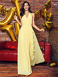 cheap -Sheath / Column V-neck Ankle Length Georgette Prom Formal Evening Dress with Draping by TS Couture®