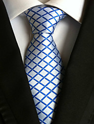cheap -New Blue plaid Classic Formal Men's Tie Necktie Wedding Party Gift TIE0069