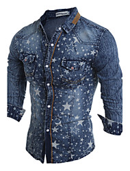 Brand Fashion Men's casual long-sleeved jacket printing Slim denim jacket lapel stars Polyester Casual / Sport