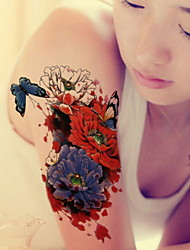 Red Peony Waterproof Flower Arm Temporary Tattoos Stickers Non Toxic Glitter