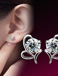 cheap -Korean 925 Silver Sterling Silver Jewelry Earrings Sample AAA Zircon Heart Stud Earring 1PairImitation Diamond Birthstone