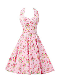cheap -Women's Pink Floral Dress , Vintage Halter 50s Rockabilly Swing Dress