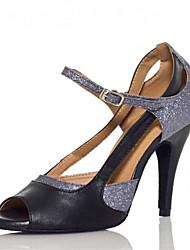 cheap -Women's Dance Shoes Latin / Salsa / Samba Satin Heel Silver Customizable