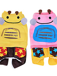 cheap -Dog Costume Outfits Hoodie Jumpsuit Dog Clothes Cartoon Animal Yellow Red Cotton Down Costume For Pets Men's Women's Cosplay Fashion