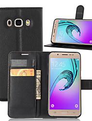 billiga -SHI CHENG DA fodral Till Samsung Galaxy Samsung Galaxy-fodral Plånbok / Korthållare / med stativ Fodral Enfärgad PU läder för J5 (2016)
