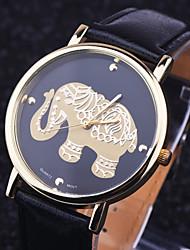 baratos -Mulheres Relógio de Pulso PU Banda Amuleto / Fashion Preta / Branco / Marrom / Aço Inoxidável