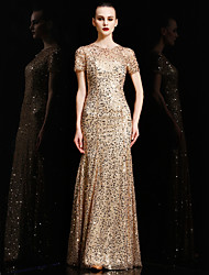 cheap -Mermaid / Trumpet Jewel Neck Floor Length Charmeuse Sequined Formal Evening Dress with Sequins by Vanedress