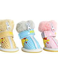 Cachorro Sapatos e Botas Fashion Botas de Neve Amarelo Azul Rosa claro Para animais de estimação