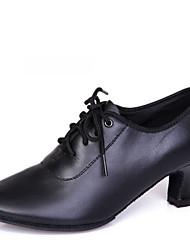 Latin Women's Dance Shoes Heels Breathable Leather Chunky Heel Black