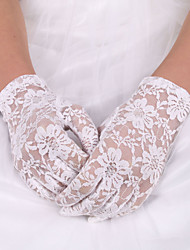 cheap -Lace Polyester Elastic Satin Wrist Length Glove Classical Bridal Gloves With Solid
