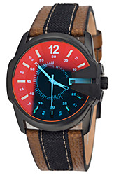 Men's Watches Discoloration Watches Waterproof Multiple Time Zones Movement Sport Genuine Leather Quartz Wrist Watch Cool Watch Unique Watch