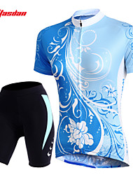 economico -TASDAN Per donna Manica corta Maglia con pantaloncini da ciclismo - Blu Bicicletta Pantaloncini /Cosciali Pantaloncini imbottiti di