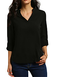 cheap -Women's Work Plus Size Summer T-shirt,Solid V Neck Long Sleeves Acrylic Polyester Thin