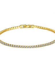 Simple Fashion Women's  Rhinestones Imitated Gold Plated Tin Alloy Tennis Bracelet(Golden,Rose Gold)(1Pc) Christmas Gifts