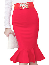 cheap -Women's Plus Size Work Knee Length Skirts, Sexy Bodycon Rayon Solid Spring