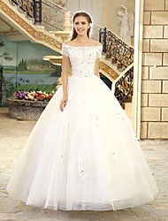 cheap -A-Line Princess Off-the-shoulder Floor Length Tulle Wedding Dress with Beading by LAN TING BRIDE®