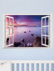 3D Wall Stickers Wall Decals Style The New View of The Sea Waterproof Removable PVC Wall Stickers