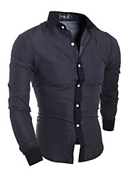 cheap -Men's Casual Cotton Slim Shirt - Solid Colored Classic Collar