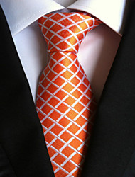 Regalo di partito di nozze della cravatta di legame degli uomini del plaid arancione